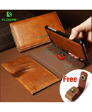 FLOVEME Brown Flip Leather Case Magnetic Wallet Case